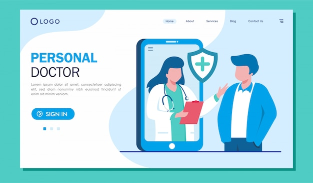 Personal doctor landing page website illustration