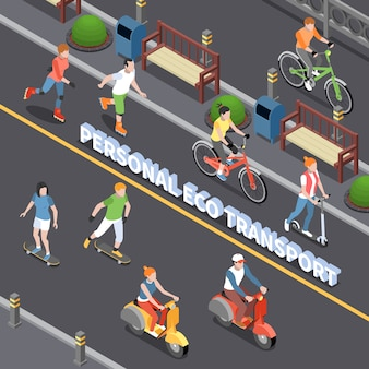 Personal eco transportation composition with personal mobility symbols isometric