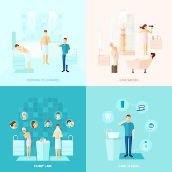 Personal and family care icons set