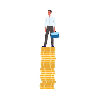 Personal financial goal growth - office businessman on a pile of coins flat cartoon vector illustration isolated . credit offer and bank investment.