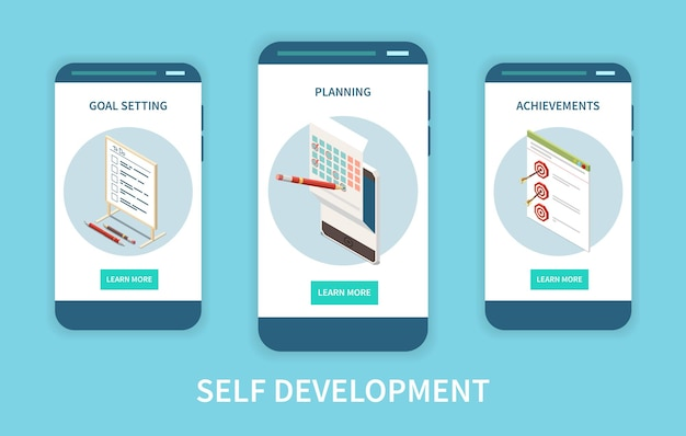 Personal growth app screens set
