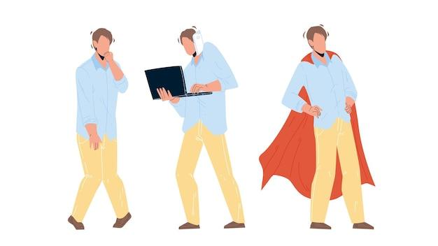 Вектор предпринимателя деловых навыков личного роста. безработный мужчина, трудолюбие и общение с партнером, личностный рост до супергероя. персонаж парень саморазвитие плоский мультфильм иллюстрации