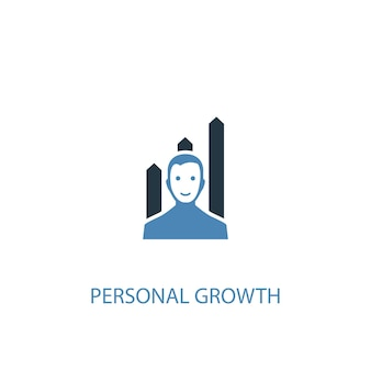 개인 성장 개념 2 컬러 아이콘입니다. 간단한 파란색 요소 그림입니다. 개인 성장 개념 기호 디자인입니다. 웹 및 모바일 ui/ux에 사용할 수 있습니다.