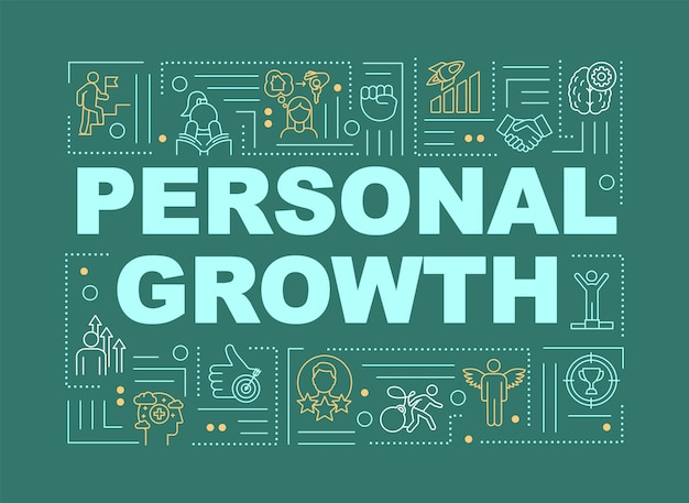 Personal growth green word concepts banner. self development and individual improvement. infographics with linear icons on mint background. isolated typography. vector outline rgb color illustration