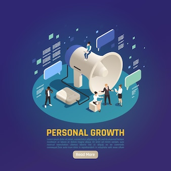 Personal growth isometric composition with big megaphone  loudspeaker and text messages
