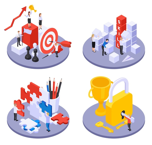 Personal growth and self development isometric illustration set