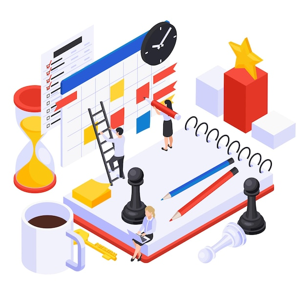 Personal growth and self development isometric illustration