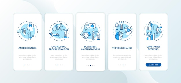 Personal growth tips onboarding mobile app page screen with concepts. evolve and develop. achieve goal walkthrough 5 steps graphic instructions. ui vector template with rgb color illustrations