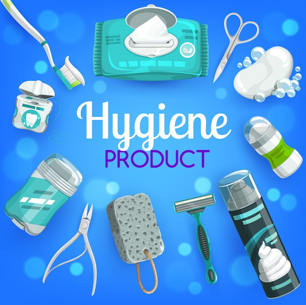 Personal hygiene products, soap, brush, toothpaste template