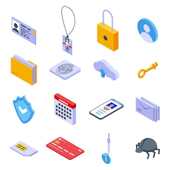 Personal information icons set, isometric style