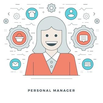 Персональный менеджер и поддержка инсульта векторные иконки.