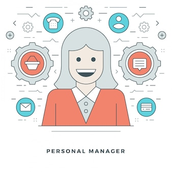 Personal manager and support stroke vector icons.