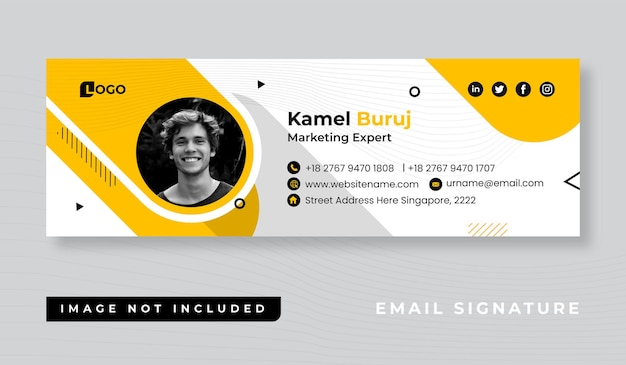 Персональный минималистичный дизайн шаблона подписи электронного письма или нижний колонтитул электронного письма и обложка в социальных сетях