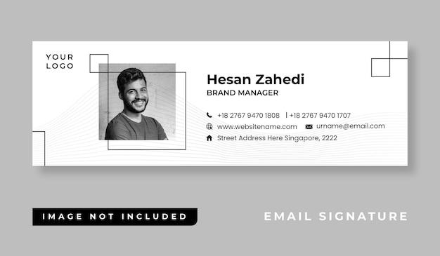 개인 미니멀 한 이메일 서명 템플릿 디자인 또는 이메일 바닥 글 및 개인 소셜 미디어 표지