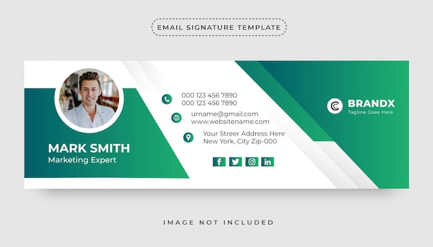Personal minimalist email signature template design or personal social media cover design