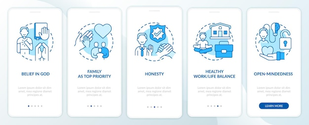 Personal morals onboarding mobile app page screen with concepts