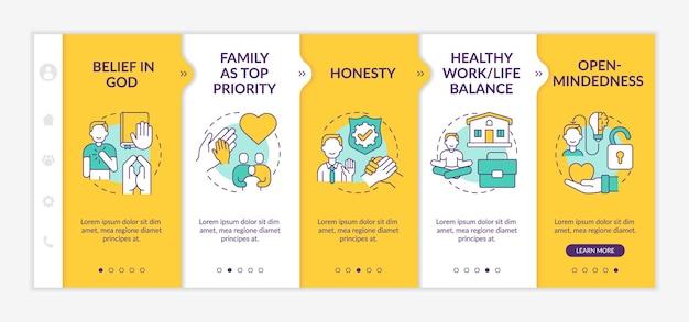 개인 도덕 온보딩 벡터 템플릿입니다. 아이콘이 있는 반응형 모바일 웹사이트입니다. 웹 페이지 연습 5단계 화면. 가족 우선, 선형 삽화가 있는 열린 마음 색상 개념