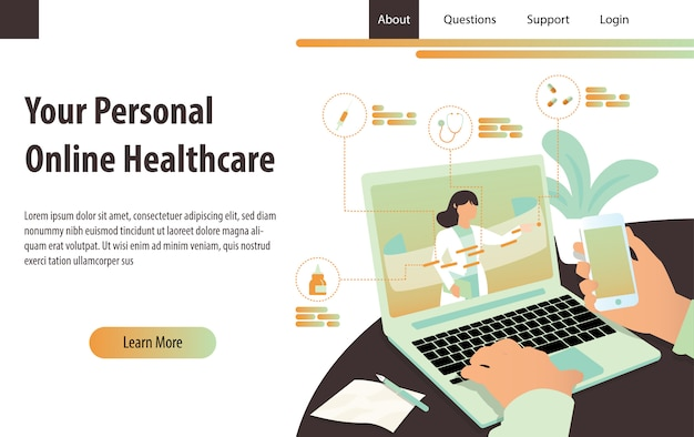 Personal online healthcare landing page