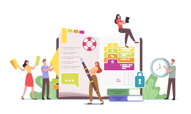 Personal organizer concept. tiny characters at huge diary writing notes, planning deals, filling to do list, put stickers and pictures, round date in calendar. cartoon people vector illustration
