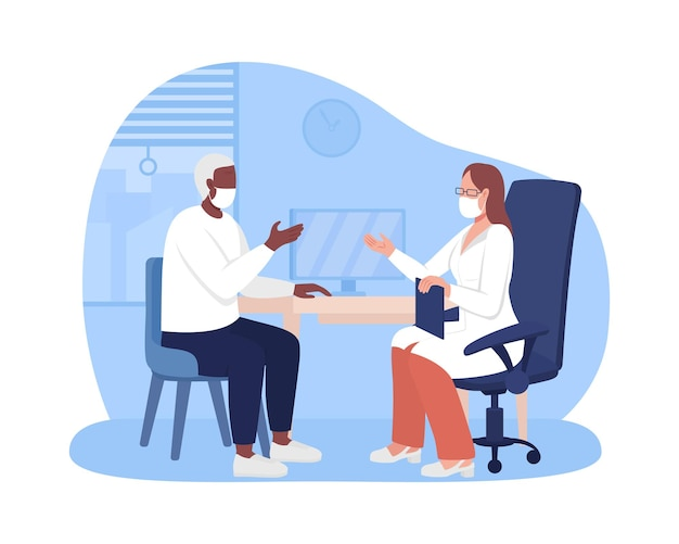 Personal physician appointment 2d vector isolated illustration. receiving healthcare service flat characters on cartoon background. discussing personal matters with doctor colourful scene