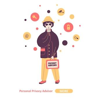 Личный советник по конфиденциальности эксперт плоская иллюстрация