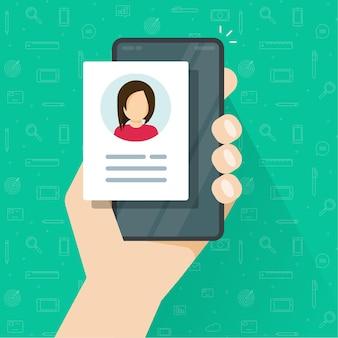 携帯電話のデジタル候補者情報アイコン付きの個人プロフィール資格情報データレビューまたはアカウント写真