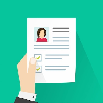 Информация о личном профиле или резюме на бумажном листе
