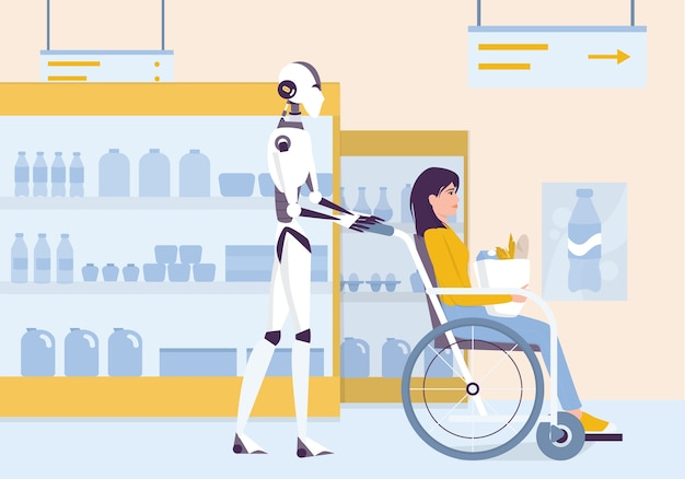 Personal robot for disabled people assistance. ai helps people in their life. young disabled character sitting in a wheelchair. woman on wheelchair shopping.  illustration