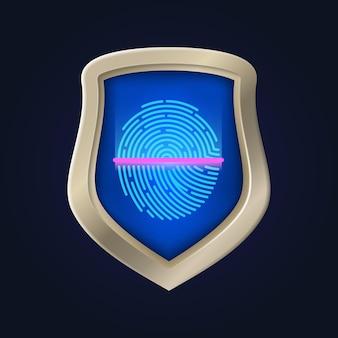 個人の安全。指紋認証とデータ保護。身元の確認と証明。家の金庫室の銀行のベクトル図を保護します。検証と指紋、識別スキャナー