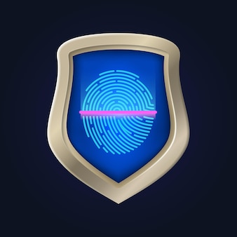Personal safety. fingerprint verification and data protection. identification and proof of identity. protect home vault bank vector illustration. verification and fingerprint, identification scanner