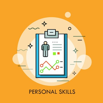 Personal skills thin line illustration
