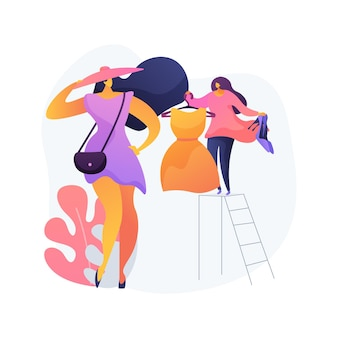 Personal stylist abstract concept vector illustration. shopping consultant, beauty blogger, business clothes tailor, workspace fashion, man and woman style, dressing room abstract metaphor.