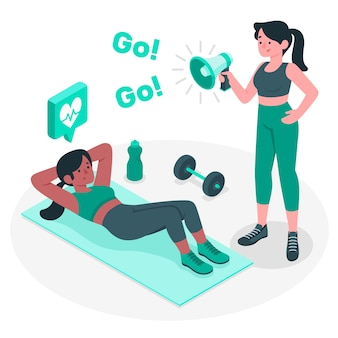 Personal trainer concept illustration