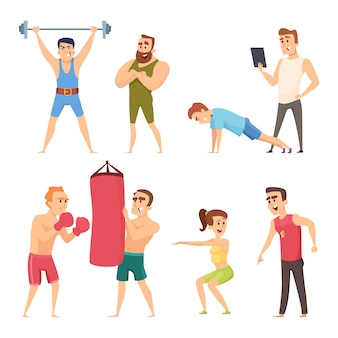 Personal trainer in gym. vector set characters