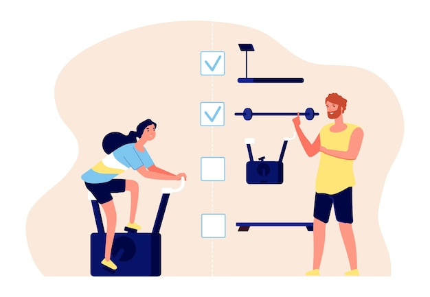 パーソナルトレーニングのコンセプト。コーチとアスリートのベクトル文字。トレーニングプラン、フラットフィットネスイラスト。パーソナルフィットネスジムのトレーニング、エクササイズトレーニング