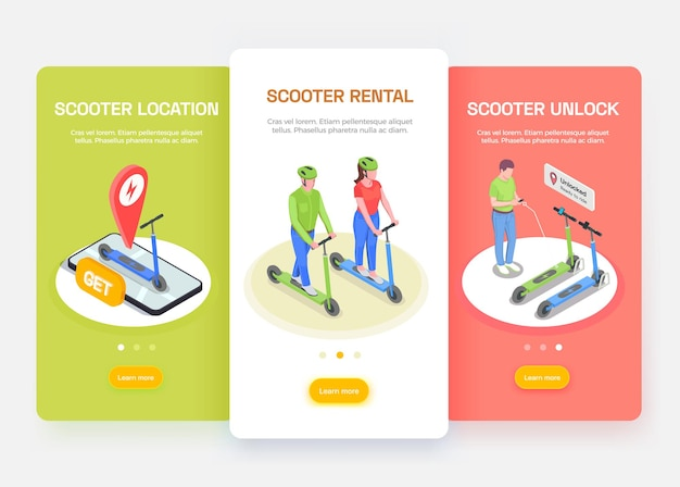 Personal transport isometric banners set with people riding and renting electric scooters isolated
