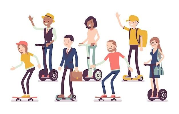 自家用車および電気輸送装置。現代の自己バランスボード、ジャイロスクーター、ホバーボード、スケートボードに乗っている若い男性、女性の幸せな人は、お楽しみください。ベクトルフラットスタイルの漫画イラスト