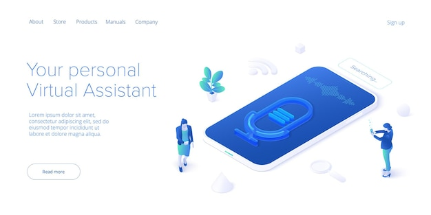 Personal virtual assistant concept in isometrici va sofware agent or online chatbot app in cellular
