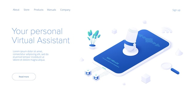 Personal virtual assistant concept iva sofware agent or online chatbot app in cellular smartphone.