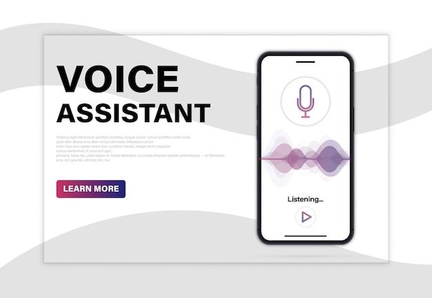모바일 앱에서 개인 음성 비서 및 인식. 방문 페이지. 음성 및 소리 모방 파도가 있는 전화 화면. 가상 온라인 비서, 모바일 앱 ui, 개인 음성 비서 디자인