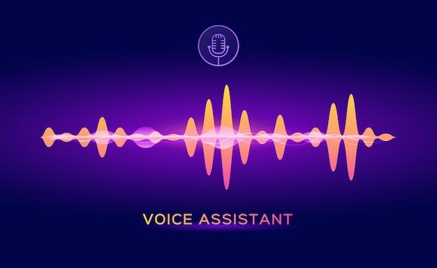 Personal voice assistant sound recognition ai microphone with soundwave vector concept