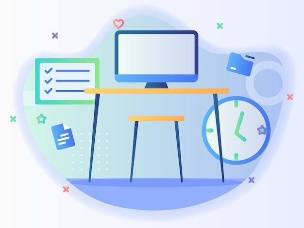 평면 스타일의 개인 작업 책상 개념 컴퓨터 테이블 의자 시계 체크리스트