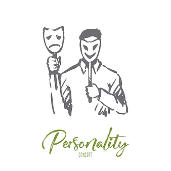 Personality, character, man, face, psychology concept. hand drawn person with mask on face concept sketch.