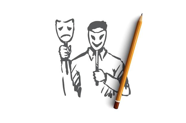 性格、性格、男性、顔、心理学の概念。顔の概念スケッチにマスクと手描きの人。