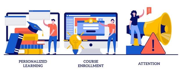 パーソナライズされた学習、コース登録、小さな人々との注意の概念。柔軟な学習計画の抽象的なイラストセット。学位プログラム、新入生、集中の比喩を申請します。