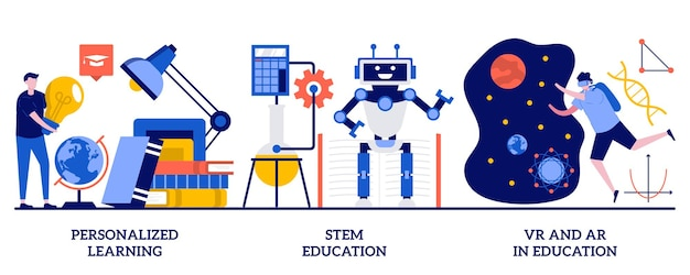Personalized learning, stem education, vr and ar in education concept with tiny people. personal studying program, academic system, futuristic technology abstract vector illustration set.