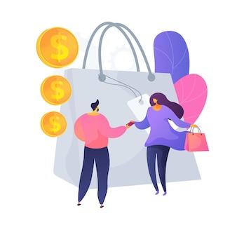 Approccio di vendita personalizzato. strategia di marketing alla moda, interazione tra venditore e acquirente, comunicazione sul mercato. il venditore offre merci al cliente. illustrazione della metafora del concetto isolato di vettore