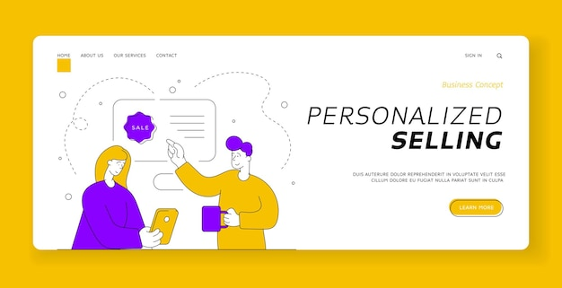 Personalized selling banner template. man with mug of hot beverage pointing at sale banner for girlfriend browsing contemporary smartphone and doing online shopping. flat style  illustration