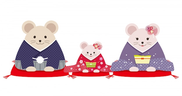 Personified rat family dressed in japanese kimono. vector illustration isolated on a white background.