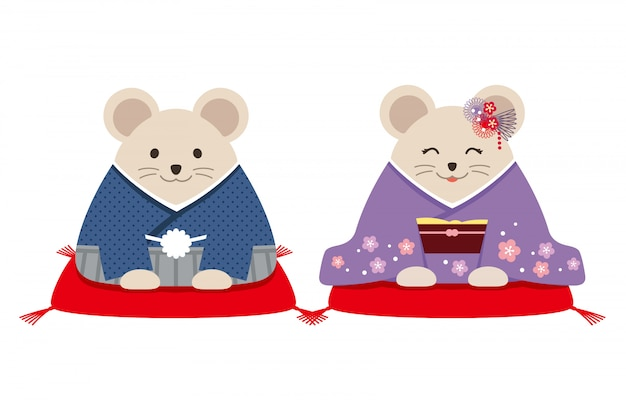 Personified rats dressed in japanese kimono. vector illustration isolated on a white background.
